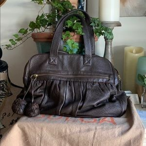 Bulga Leather Double Compartments Bag.
